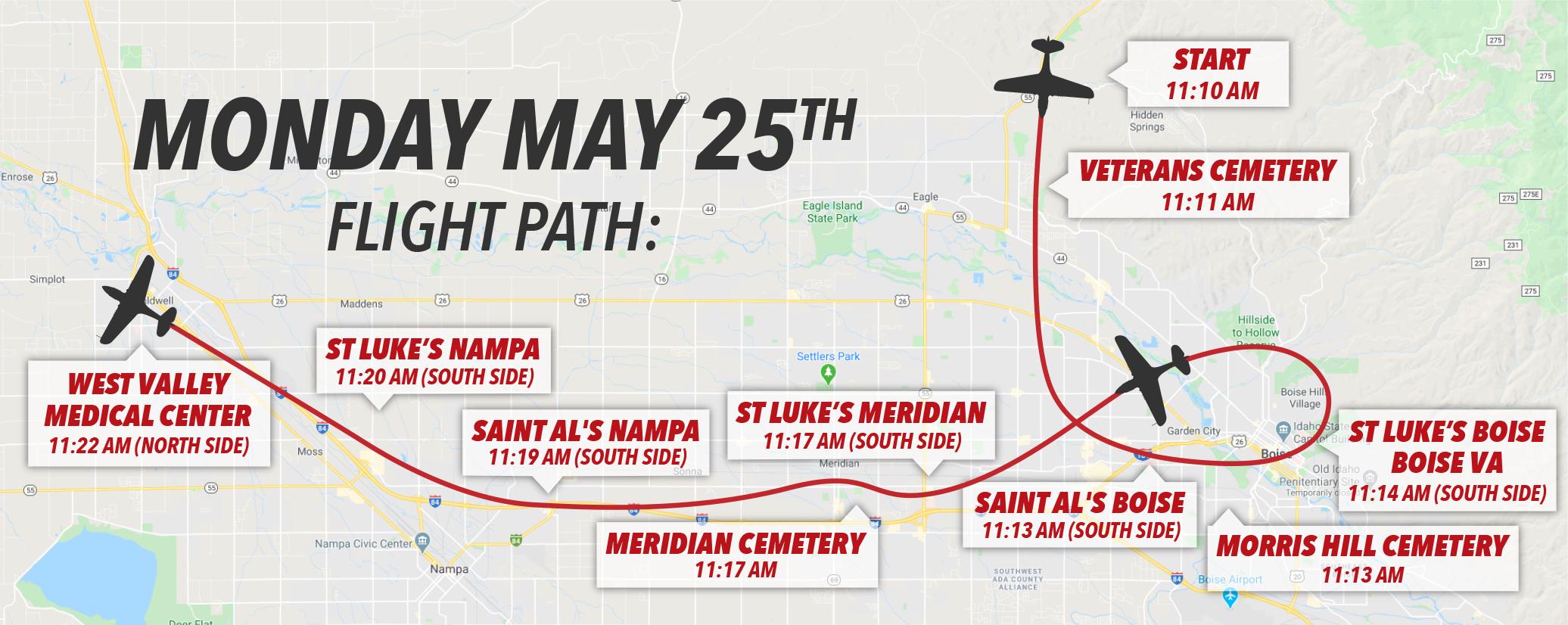 Warhawk Memorial Day Flyover Flight Plan