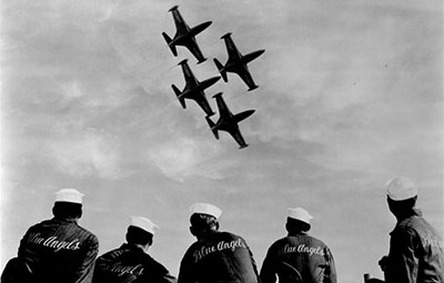 The Grumman F9F Panther in 1951 Blue Angels Diamond formation