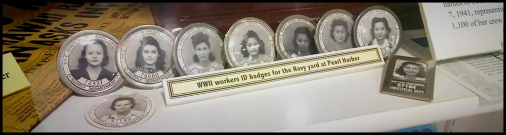 WWII workers ID badges for the Navy yard at Pearl Harbor. Displayed at the Warhawk Air Museum in Nampa, Idaho