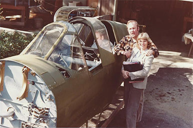 John and Sue Paul, P-40E plane to refurbish, Warhawk Air Museum, co-founders. Nampa, ID.