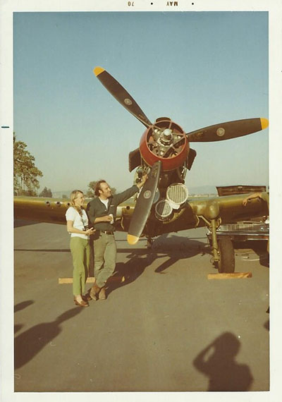 P-40E First engine start. John and Sue Paul, Warhawk Air Museum. Nampa, ID.