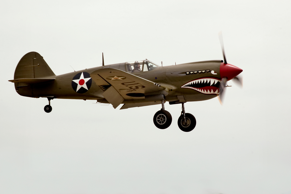 The Curtiss P-40 an airplane from WWII. Refurbished and restored. Warhawk Air Museum, Nampa, ID.