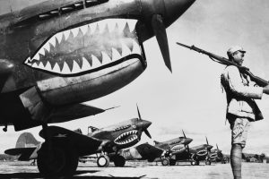 The Warhawk Curtiss P-40 shown in WWII.