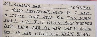snapshot of letter highlighting military romance and longing