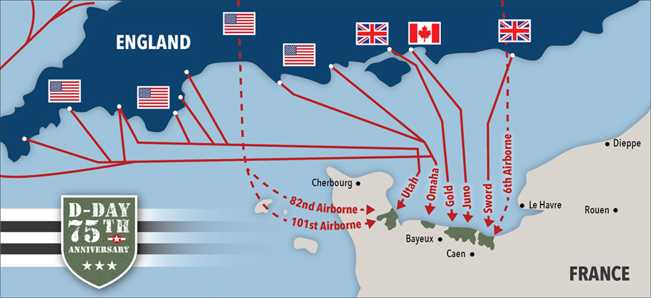 D-Day invasions paths from England to France