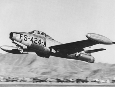 F-84E Thunderjet FS-424-A loaded with bombs taking off