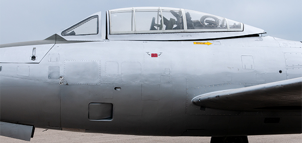 The cockpit of the F-84G Thunderjet