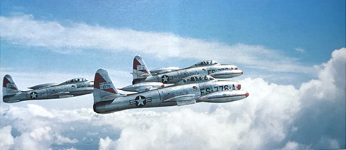 Three F-84G Thunderjets flying in formation