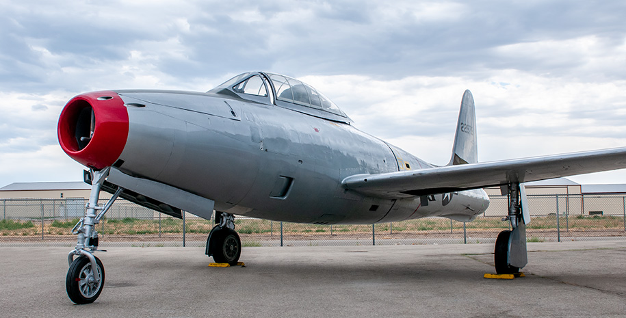 The Warhawk Air Museum's new F-84G Thunderjet at the Nampa airport