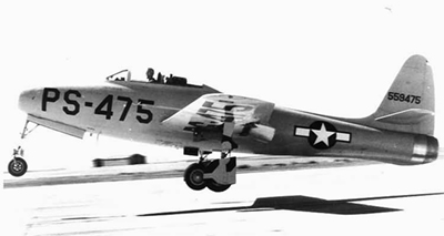 XP-84 Thunderjet PS-475 landing on tarmac