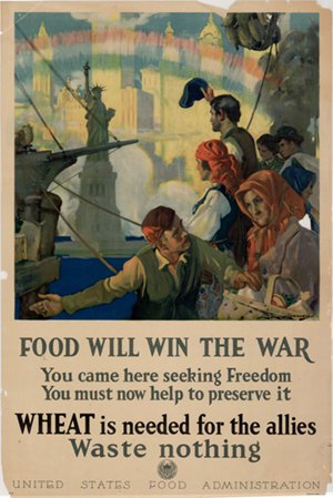 First side of: Food will win the war : you came here seeking freedom, you must now help to preserve it : wheat is needed for the Allies, waste nothing., a poster available in the The Portal to Texas History