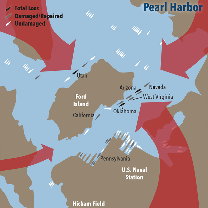 Map of Japanese aerial attack on Pearl Harbor