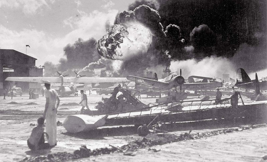 American sailors at Ford Island reacting to the explosion of the USS Shaw during the second wave of attacks.