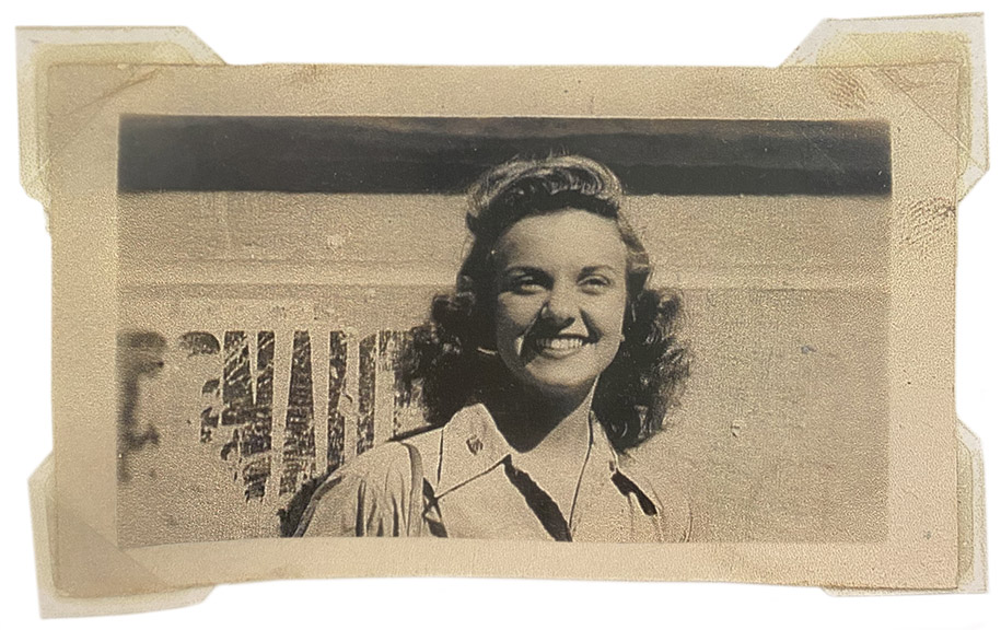 "Carmelita Pope in 1945 as part of the ""Kiss and Tell"" USO unit #415"