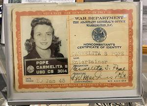 Carmelita Pope's War Department Certificate of Identity