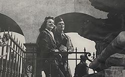Carmelita Pope on the Ponte Vecchio with Budge Patti