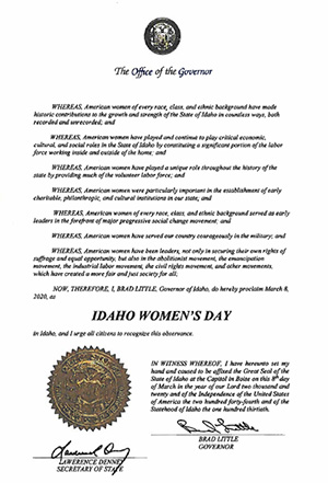 Idaho Governor Brad Little's proclamtion for Idaho Women's Day