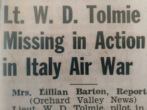 "Newspaper clippling with headline ""Lt. W. D. Tolmie Missing in Action in Italy Air War"""