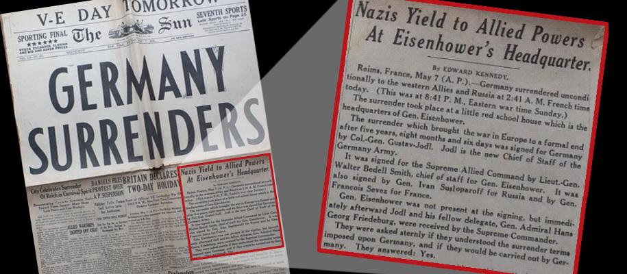 Germany Surrenders newspaper headline
