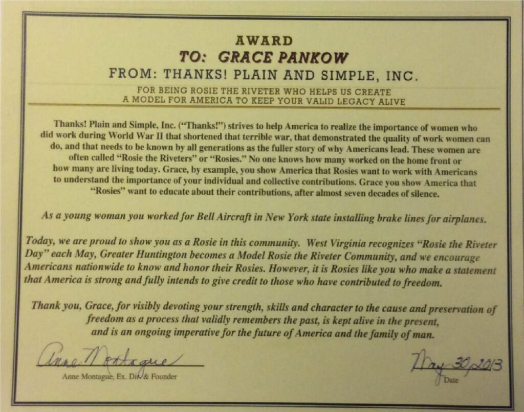 """Grace Pankow's award certificate from """"Thanks! Plane and Simple, Inc."""""""